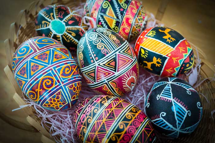 Ukranian Easter Eggs (pysanky) in basket